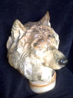 Ghost Wolf's Head Bust Bronze Sculpture 1992 16 in Sculpture - Ron Chapel