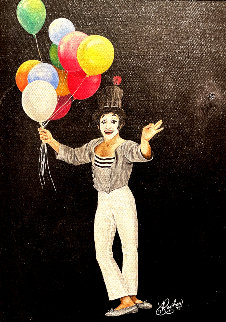 Untitled Clown Painting 1973 14x11 Original Painting - Ron Rophar