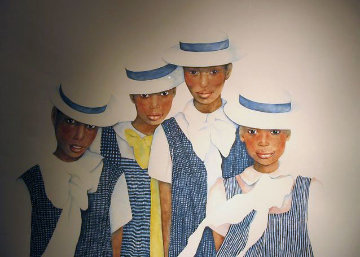 Lena and Her Sisters 1987 67x57 Original Painting - Christine Rosamond