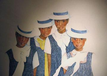 Lena and Her Sisters 1987 67x57 Huge Original Painting - Christine Rosamond