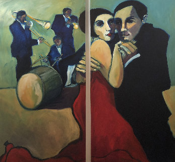 Ragtime Rosie and Roy 2004 72x75 Huge Original Painting - Sarena Rosenfeld