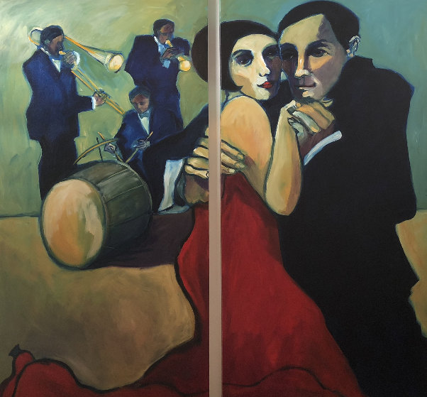 Ragtime Rosie and Roy 2004 72x75 Original Painting by Sarena Rosenfeld