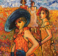 Women in Their Sunday Dresses 2008 48x48 Original Painting - Sarena Rosenfeld