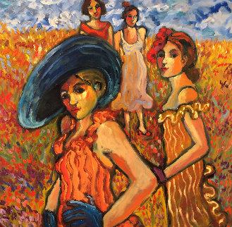 Women in Their Sunday Dresses 2008 48x48 Original Painting - Sarena Rosenfeld