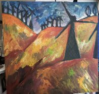 Windmill on the 580 to San Francisco 1991 36x36 Original Painting by Sarena Rosenfeld - 0