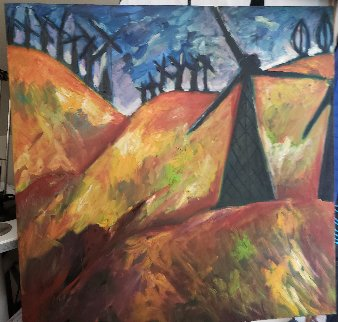Windmill on the 580 to San Francisco 1991 36x36 Original Painting - Sarena Rosenfeld