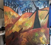 Windmill on the 580 to San Francisco 1991 36x36 Original Painting by Sarena Rosenfeld - 1