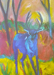 Blue Deer 1991 36x24 Original Painting - Sarena Rosenfeld