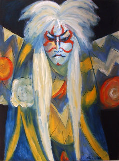 Kabuki in Two Line Paint 1988 Original Painting by Sarena Rosenfeld