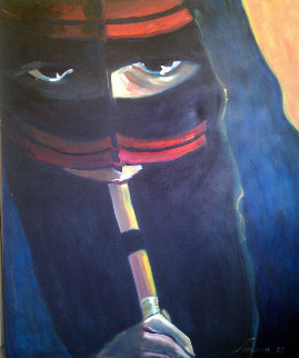 Veiled Woman, Dubai 1987 60x48 Original Painting - Sarena Rosenfeld