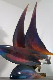 Sailboat Unique Glass Sculpture 30 in Sculpture by Dino Rosin