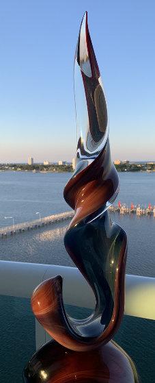 Double Ribbon Unique Glass Sculpture 39 in Sculpture by Dino Rosin