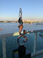 Double Ribbon Unique Glass Sculpture 39 in Sculpture by Dino Rosin - 3