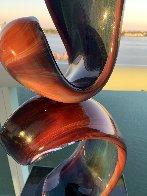 Double Ribbon Unique Glass Sculpture 39 in Sculpture by Dino Rosin - 9
