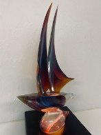Sailboat Glass Sculpture 32 in Sculpture by Dino Rosin - 3