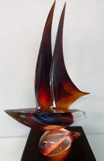 Sailboat Glass Sculpture 32 in Sculpture by Dino Rosin