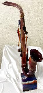 Saxophone Unique Glass Sculpture 2020 36 in Sculpture - Dino Rosin