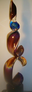 Double Ribbon Glass Unique Sculpture 39 in Sculpture - Dino Rosin