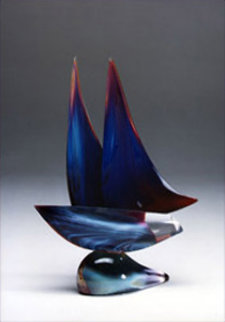 Sailboat Blue Unique Glass Sculpture 20 in Sculpture by Dino Rosin
