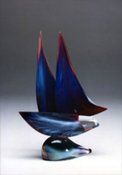 Sailboat Blue Unique Glass Sculpture 20 in Sculpture by Dino Rosin