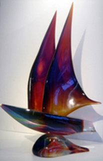 Sailboat Unique Glass Sculpture 2002 24 in Sculpture - Dino Rosin
