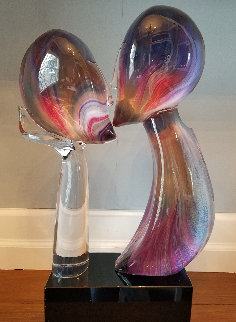 Kiss Glass Unique Sculpture 25 in Sculpture - Dino Rosin