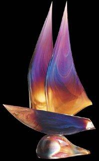 Sailboat Glass Unique Sculpture 2008 30 in Sculpture - Dino Rosin