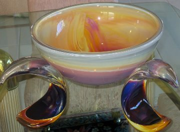 Ikebana Glass Unique Bowl 1990 15 in Sculpture by Dino Rosin