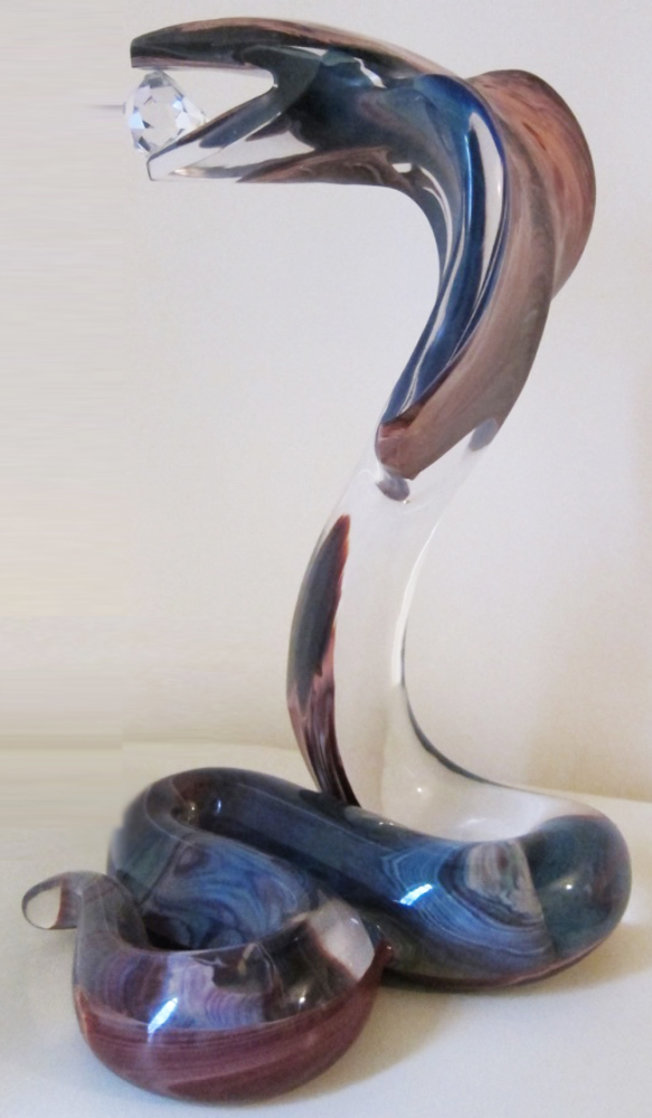 Cobra Glass Sculpture Unique 18 in Sculpture by Dino Rosin