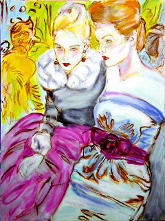 Untitled Portrait of Two Women 2017 40x30 Super Huge Original Painting - Colleen Ross