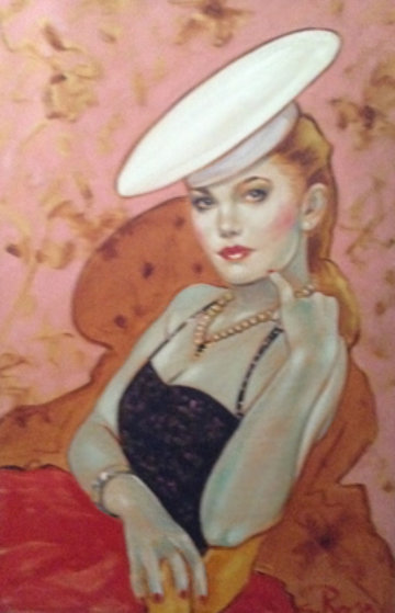Untitled (Woman With Hat) 37x25 Original Painting by Colleen Ross