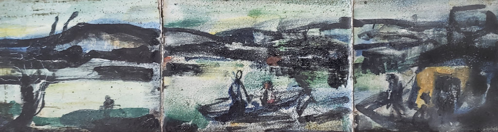 Le Port 1907 8x18 Original Painting by Georges Rouault