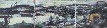 Le Port 1907 8x18 Original Painting - Georges Rouault