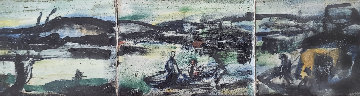 Le Port 1907 8x18 Glazed Ceramic Tile  4x14 in Original Painting - Georges Rouault
