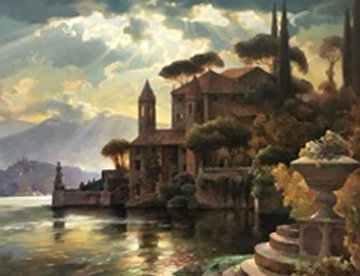 Lake Como 43x57 Original Painting by Leon Roulette