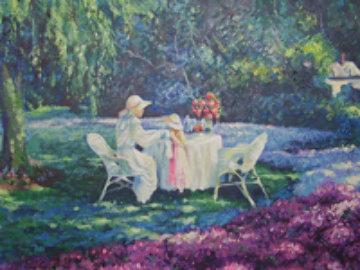 Tea for Two 24x48 Huge Original Painting - Leon Roulette