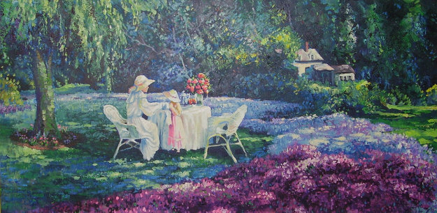 Tea for Two 24x48 Original Painting by Leon Roulette