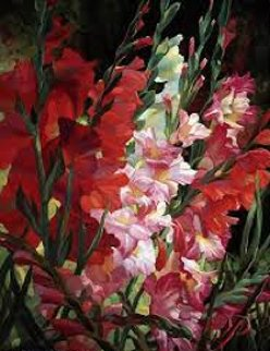 Gladiolas 2010 Embellished Limited Edition Print by Leon Roulette