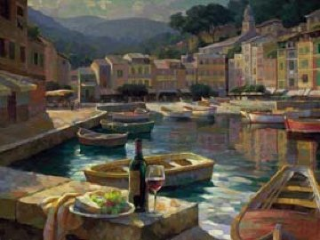Harborside At Portofino 2010 Embellished Limited Edition Print - Leon Roulette