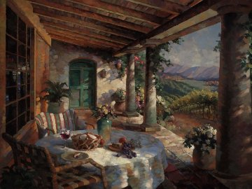 View From the Veranda Embellished 2010 Limited Edition Print by Leon Roulette