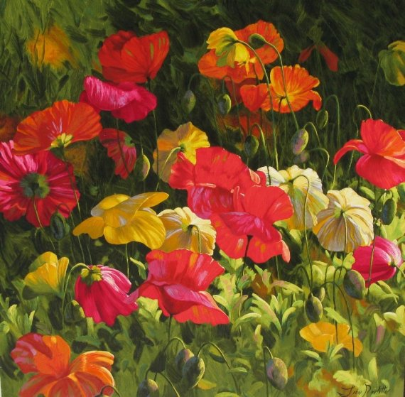 Iceland Poppies 2010 Embellished Limited Edition Print by Leon Roulette