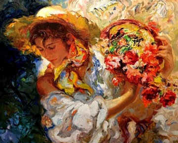 Lady and Flower Basket Panel Limited Edition Print -  Royo