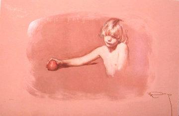 Nina Con Manzana on Clay Panel 1997 Limited Edition Print by  Royo