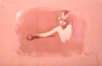 Nina Con Manzana on Clay Panel 1997 Limited Edition Print -  Royo