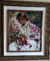 Entre Rosas Y Azaleas 2004 43x38 Super Huge Original Painting by  Royo - 2