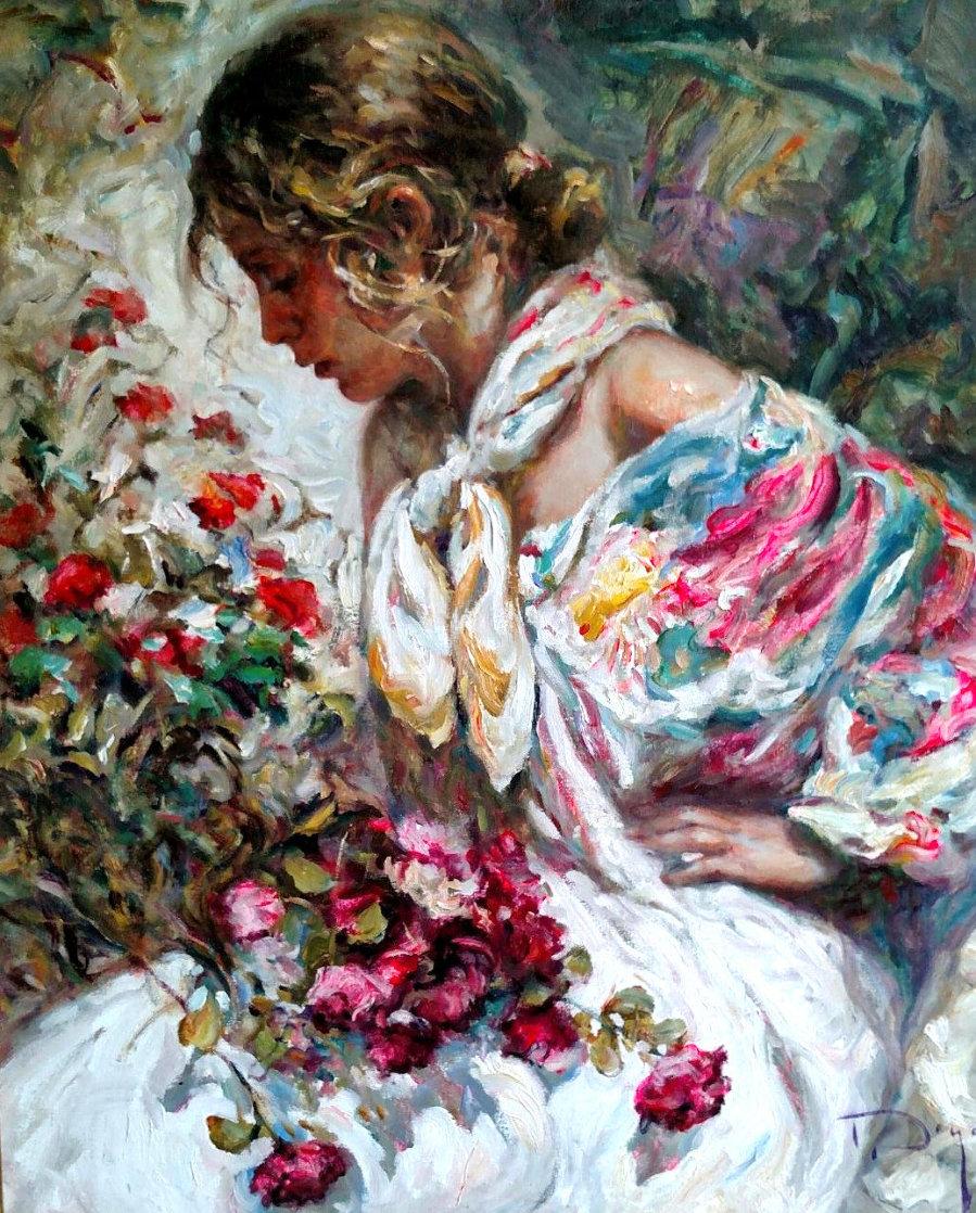 Entre Rosas Y Azaleas 2004 43x38 Super Huge Original Painting by  Royo
