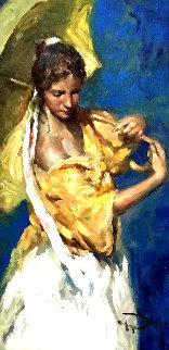 Amarillos Y Azules 2005 27x19 Original Painting by  Royo