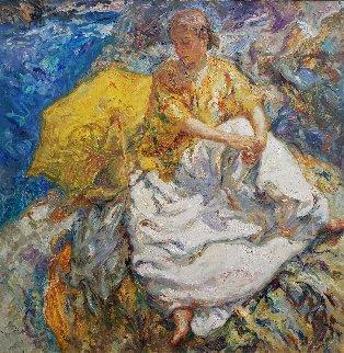 Sombrilla Amarilla 2004 50x50 Huge Original Painting -  Royo