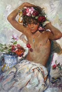 Nina Sober Fondo Blanco 1996 32x24 Original Painting by  Royo