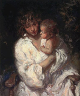 Maternidad on Clay Panel 1999 Limited Edition Print by  Royo